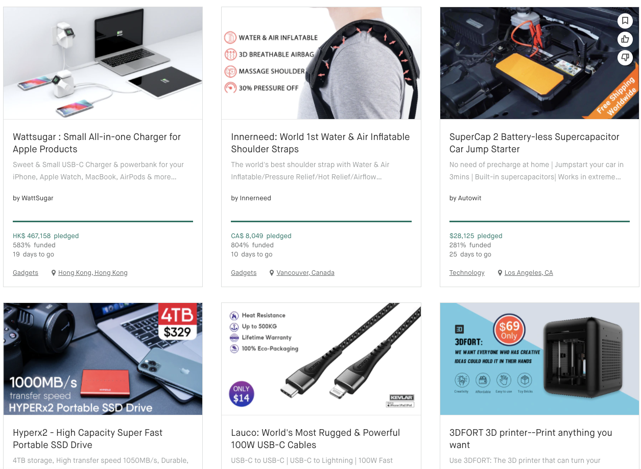 screen shot of product page in Kickstarter.com